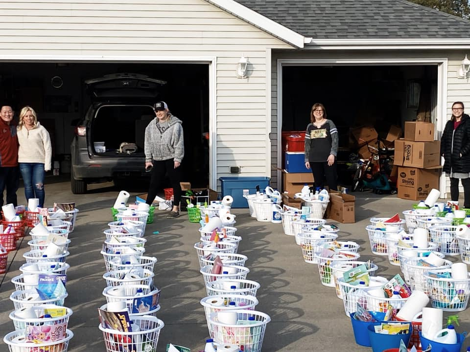Baskets with cleaning supplies and daycare activities were donated to providers in Douglas County