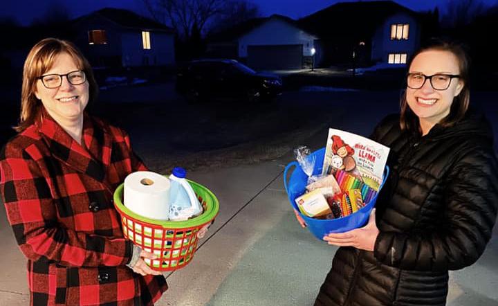 Volunteers with baskets