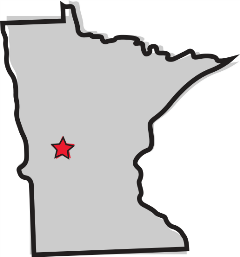 stylized map of Minnesota with the city of Alexandria marked with a star