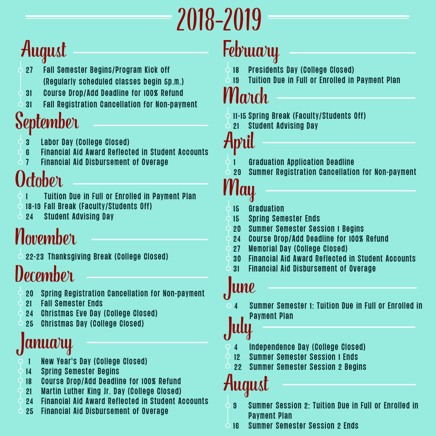 Calendar 2019 Spring Break 2018 2019 Academic Calendar